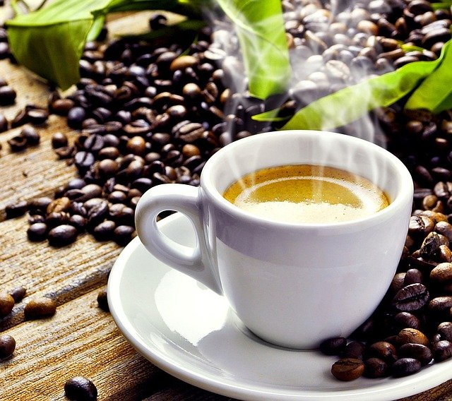 hot espresso with beans