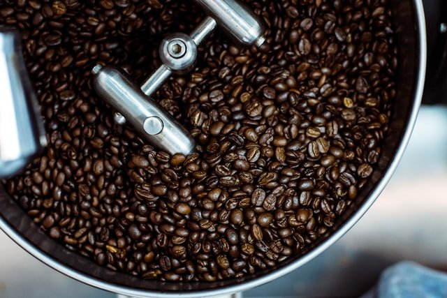 black roast coffee beans