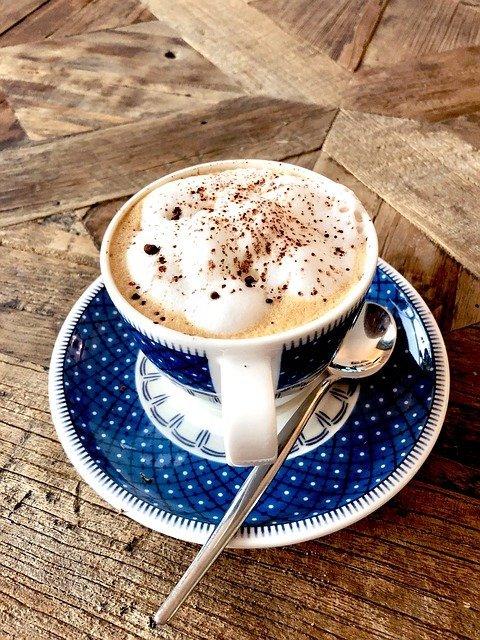 cappuccino coffee blue mug