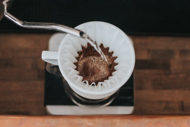 white coffee filter pour over